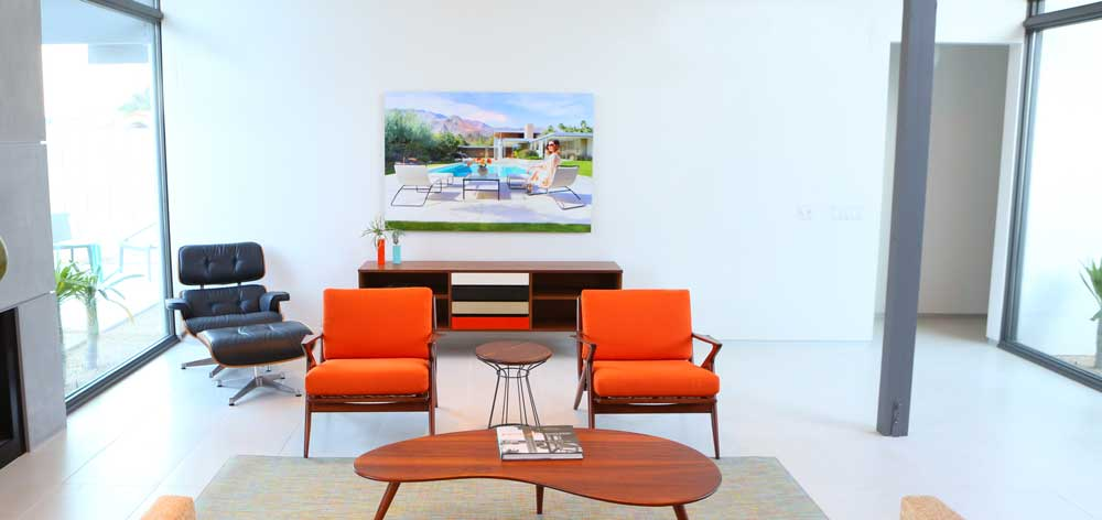 """A 40"""" x 60"""" print hanging on the wall of the Desert Eichler in Palm Springs California."""